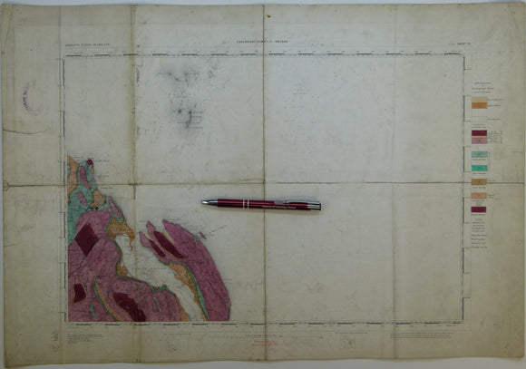 "Ireland sheet  21, Larne, 1"" scale. 1883. Covers to Lough Larne, 85% sea. Base map undated. Hand-coloured"