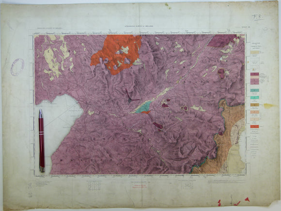 "Ireland sheet  28, Antrim, 1"" scale. 1874. First edition. Base map 1864. Covers NE of Lough Neagh. Hand -coloured."