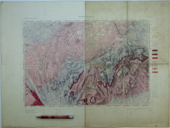 "Ireland sheet  60, Newry, 1"" scale. 1901. Covers Keady, Slieve Gullion. Base map 1874. Hand-coloured"