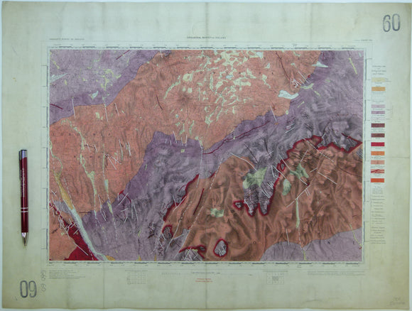 "Ireland sheet  60, Newry, 1"" scale. 1901. Covers Keady, Slieve Gullion. Base map 1874. Coloured 1905. Hand-coloured"