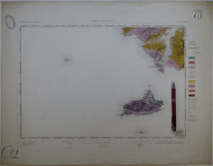 "Ireland sheet  73, Clare Island, 1"" scale. 1879. First edition. 80% sea. Base map 1869. Coloured 1903. Hand-coloured"