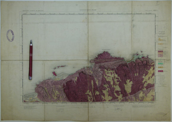 "Ireland sheet   7, Giant's Causeway, 1"" scale. 1887. 1st ed. Covers Portrush and Ballin. 55% sea. Base map 1865. Hand-coloured"