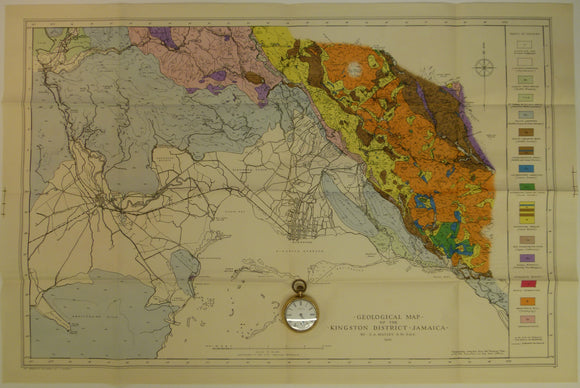 Matley, Charles A (1945). Geological Map of the Kingston District, Jamaica. Colour printed map (50 x 76 cm) at 1:63,360