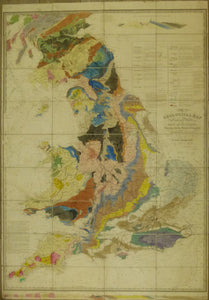 Walker, J. & C. 1835. First edition. A Geological Map of England & Wales and Part of Scotland. Hand coloured engraved map 140 x 100cm