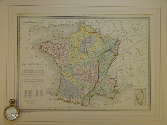 Carte Physique et Mineralogique de la France, c.1840, from Atlas Geographie Moderne, engraved by Thierry. Hand coloured