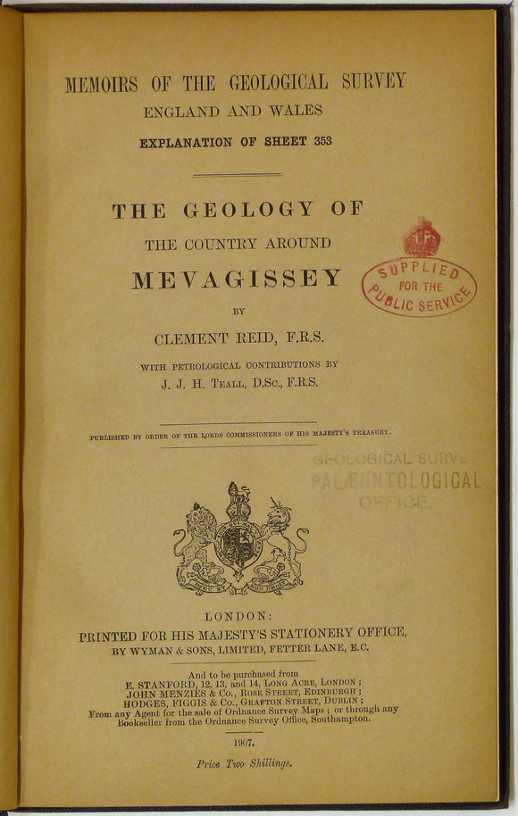 Sheet Memoir 353. Mevagissey, by Reid, C and Teall, JJH, 1907, 1st edition.