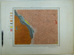 "Sheet  63sw, Old Series 1"". 1886. Warwickshire, Leicestershire; Atherstone, Hinckley. Hand-coloured engraving"