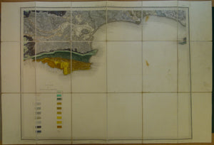 "Sheet  16, Old Series 1"". 1858, 1<sup>st</sup> edition. Dorset; Poole, Swanage, Corfe. Hand-coloured"