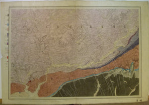 "Sheet  41, Old Series 1"". 1857. Caermarthenshire: Caermarthen, Laugharne, Llandovery. Topography1831, geology revised to 1857,"