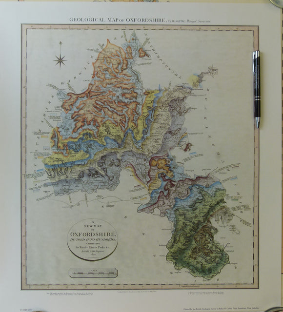 William Smith Geological Map of Oxfordshire of 1823.  1993 REPRO