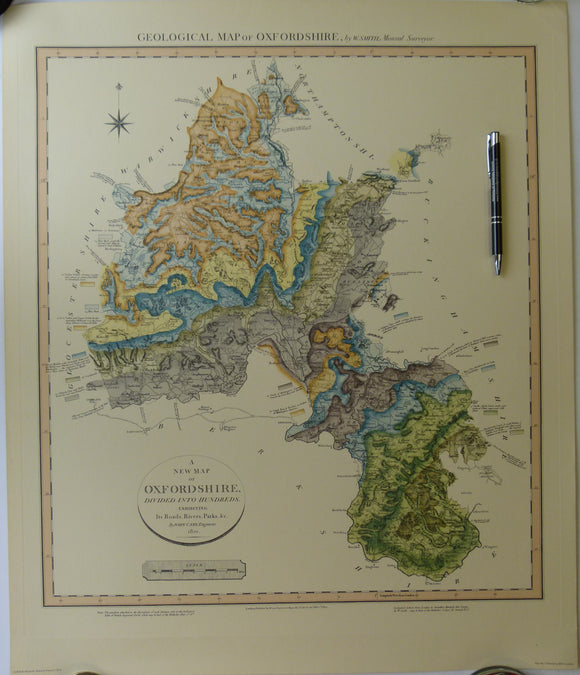 William Smith Geological Map of Oxfordshire of 1823.  1974 REPRO