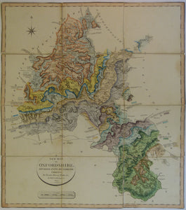 William Smith. 1823. Geological Map of Oxfordshire. Hand-coloured engraving, 54x58cm, dissected