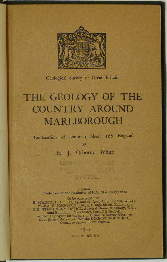 Sheet Memoir 266. Marlborough, by Osborne White, HJ. 1925, 1st edition.