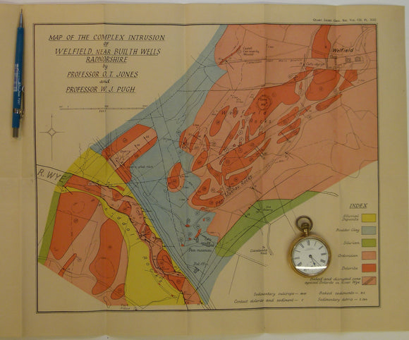 Wales Mid- 1946. [Map of] The Complex Intrusion of Welfield, Near Builth Wells, Radnorshire, colour