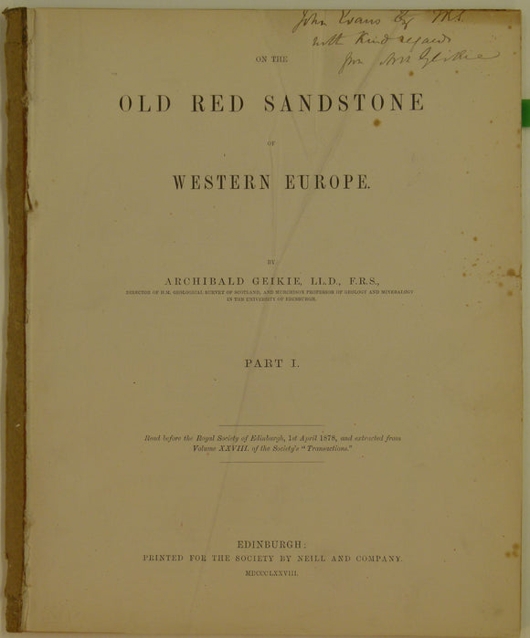 Geikie, Archibald, 1878. 'On the Old Red Sandstone of Western Europe, pt I' in the Transactions of the Royal Society of Edinburgh