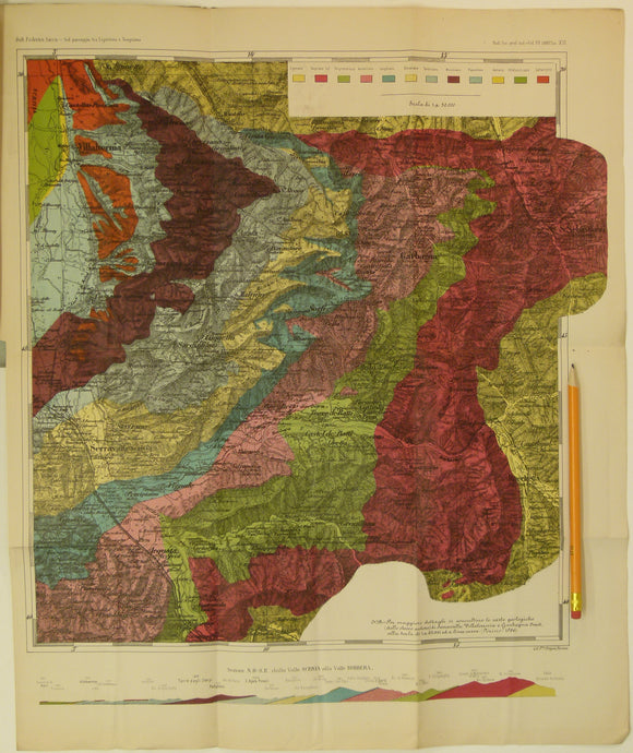 Sacco, Frederico, 1888. Untitled geological map of Villalvernia area (approx. 60km N of Genoa) in Liguria.  Colour printed folded map