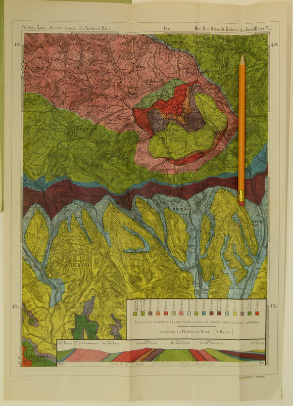 Sacco, Frederico, 1889. Untitled geological map of Castelnovo d'Asti (now Castelnuovo don Bosco) area (approx. 20km E of Turin)
