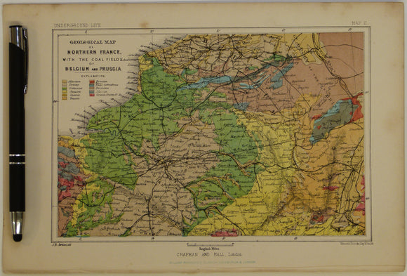 Geological Map of Northern France, with the Coal Fields of Belgium and Prussia, 1869, Plate 2, from Mines and Miners; or, Underground Life by L. Simonin