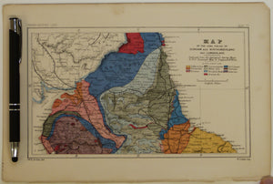 [Geological] Map of the Coal Fields of Durham and Northumberland and Cumberland, 1869, Plate 4, from Mines and Miners; or, Underground Life by L. Simonin