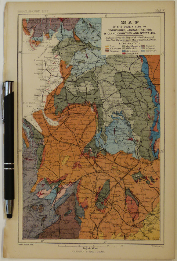 [Geological] Map of the Coal Fields of Yorkshire, Lancashire, the Midland Counties and North [east], 1869, Plate 2, from Mines and Miners; or, Underground Life by L. Simonin