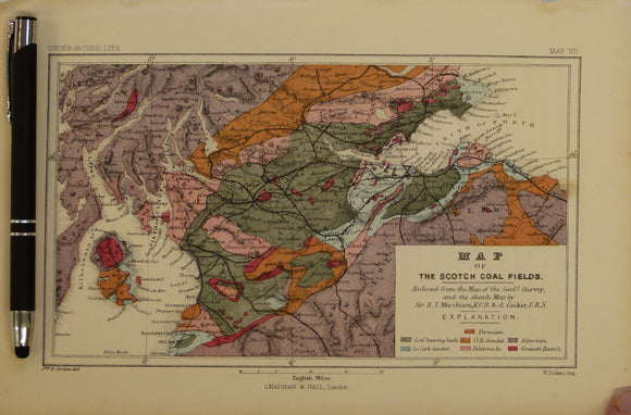 [Geological] Map of the Scotch [sic] Coal Fields, 1869, Plate 7, from Mines and Miners; or, Underground Life by L. Simonin