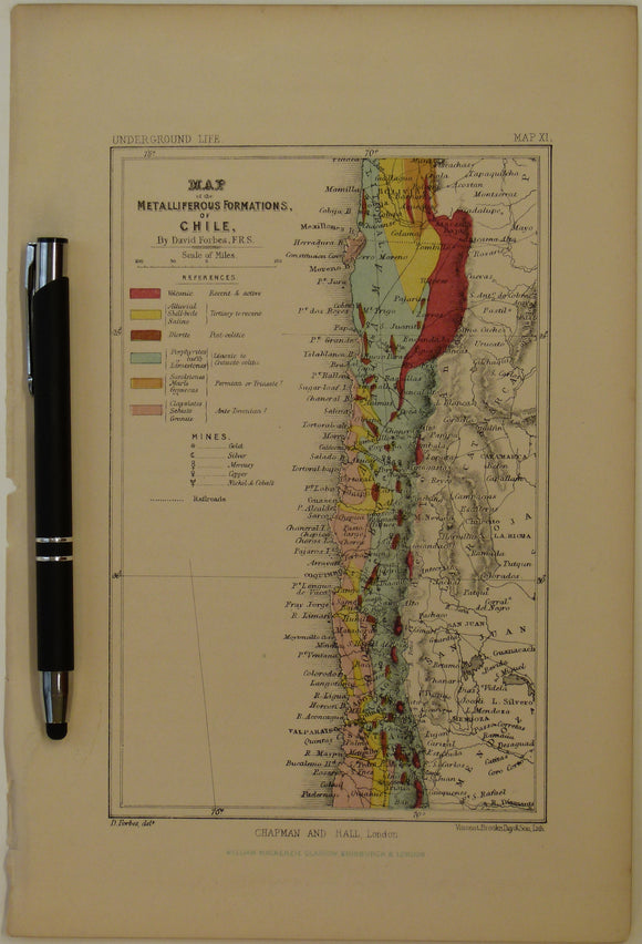 [Geological] Map of the Metalliferous Formations of Chile, 1869, Plate 11, from Mines and Miners; or, Underground Life by L. Simonin