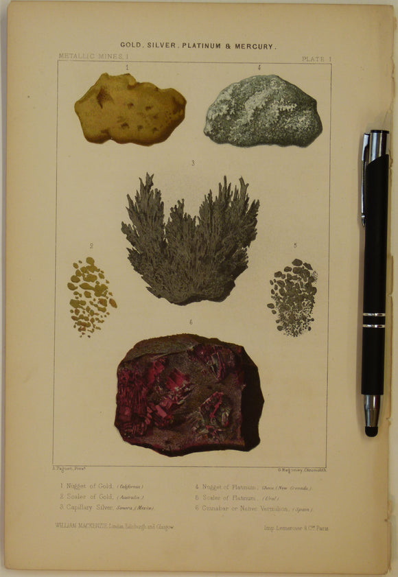 Gold, Silver, Platinum and Mercury, 1868, Metallic Mines Plate 1, from Mines and Miners; or, Underground Life by L. Simonin