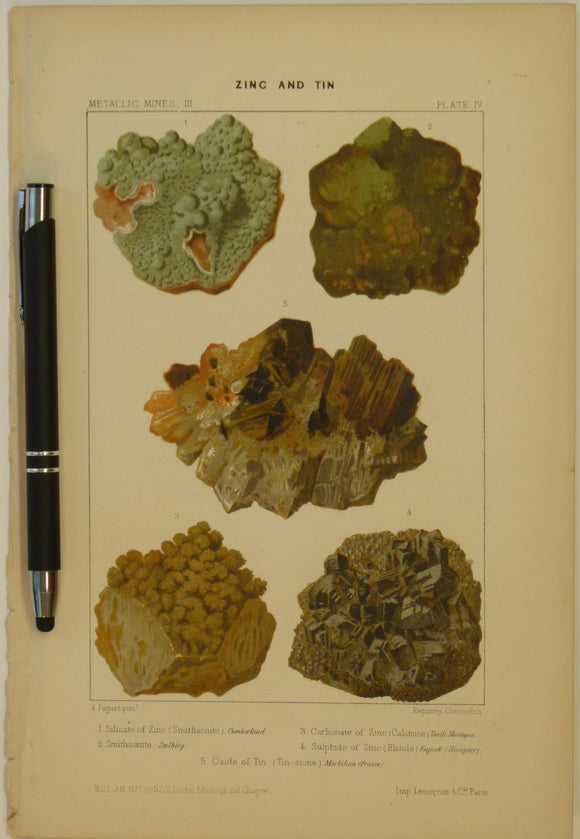 Zinc and Tin, 1868, Metallic Mines Plate 4, from Mines and Miners; or, Underground Life by L. Simonin