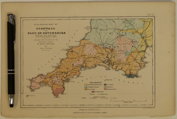 Geological Map of Cornwall and part of Devonshire, shewing the Principal Groups of Mineral Lodes, 1869, Plate 11, from Mines and Miners; or, Underground Life by L. Simonin