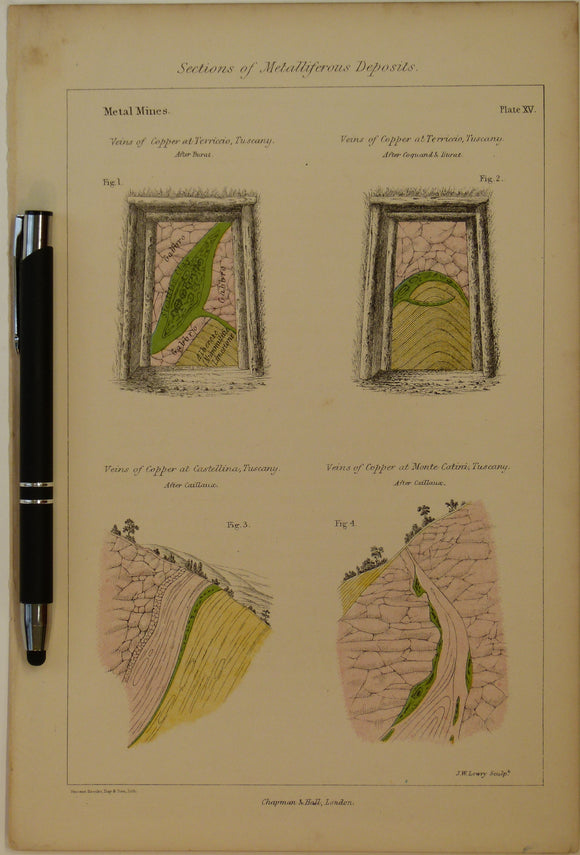 Sections of Metalliferous Deposits; Metal Mines, 1869, Plate 15, from Mines and Miners; or, Underground Life by L. Simonin