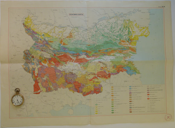 Bulgaria. 1968 approx. Geological Map [of Bulgaria]. 1:1,000,000 scale, colour printed folded map