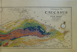 Ukraine. 1914. A Geological Map of the Caucasus. By Felix Oswald. 1:1,000,000 (78.5 x 142.5cm) colour printed map