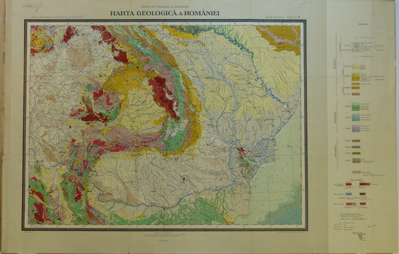 Romania. 1926. Carte Geologique de la Roumaine. Colour printed map 1:1,500,000 scale (52 x 81cm)