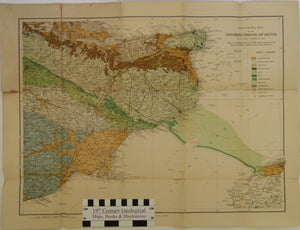 Kent. 20th century. Geological Map of the Neighbourhood of Dover. By W.Boyd Dawkins. 1:200,000 scale. Colour printed map