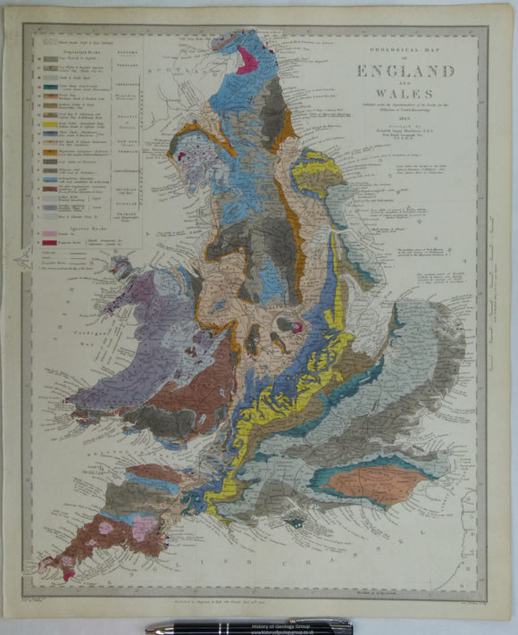 Murchison, R.I. 1843. First edition. Geological Map of England and Wales.  for the S.D.U.K. Hand-coloured engraving, 40.5 x 33.5cm