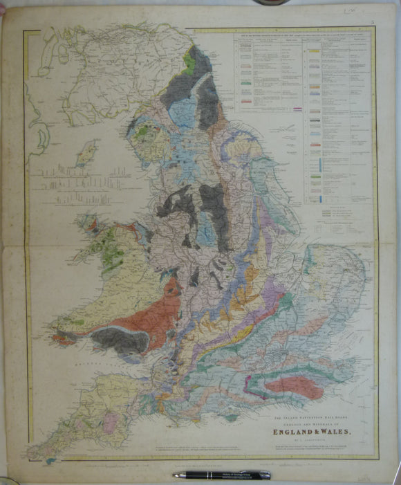 Arrowsmith, J. 1840. The Inland Navigation, Rail Roads, Geology and Minerals of England & Wales. Hand-coloured engraving, 66 x 55cm,