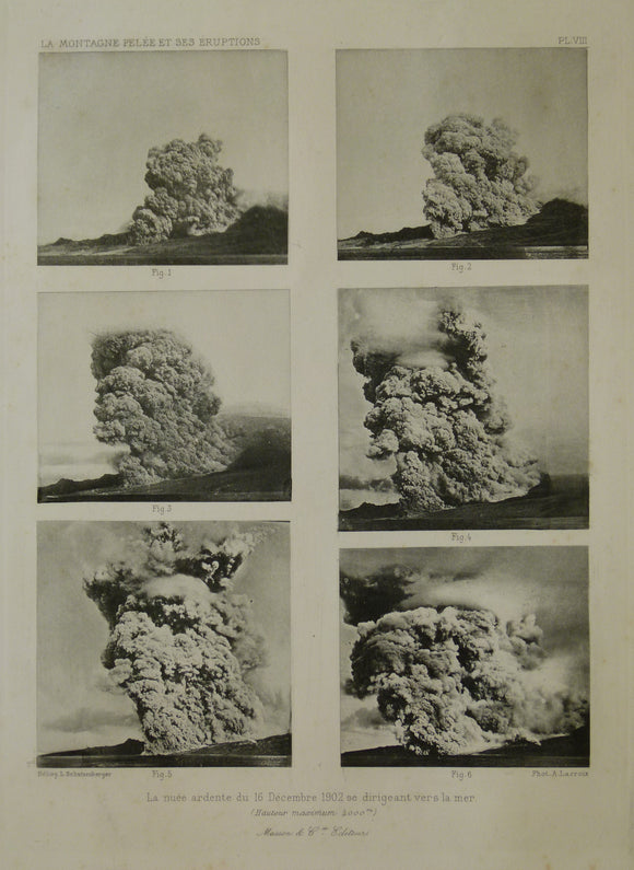 Caribbean, Martinique. 1902. Mt. Pelee eruption photograph sequence