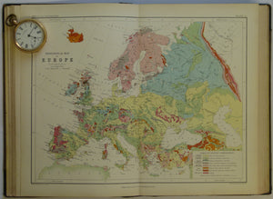 School Atlas of Physical Geography, 1861, early world geological map