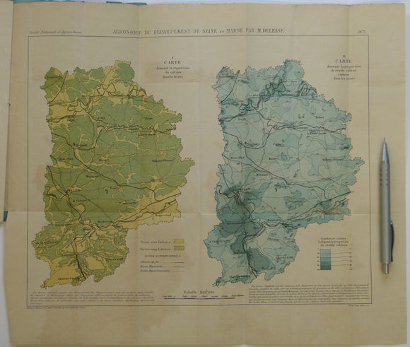 Delisse, M. 1880. '[Carte] Agronomie du Département de Seine-et-Marne. Colour printed fold out maps (34 x 40.5cm) at 1:500,000