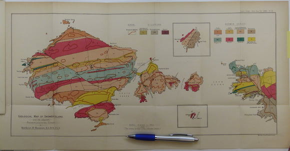 Thomas, Herbert Thomas. (1911). 'Geological Map of Skomer Island',  fold out colour printed map, 1:10,560