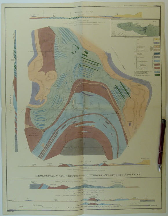 Weaver, Thomas (1824). 'Geological Map and Sections of the Environs of Tortworth, Glocester (sic)', from the Transactions of the Geological Society,