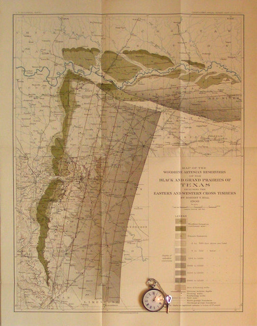 Map of the Woodbine (formation) Artesian Reservoirs of the Black and Grand Prairies of Texas, 1900
