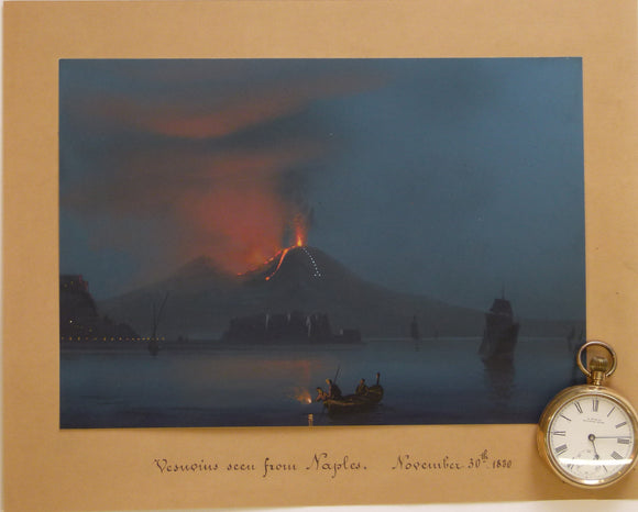 Vesuvius. 1880. Painting by Benjamin Meuris in body colour, 17.5 x 25cm,