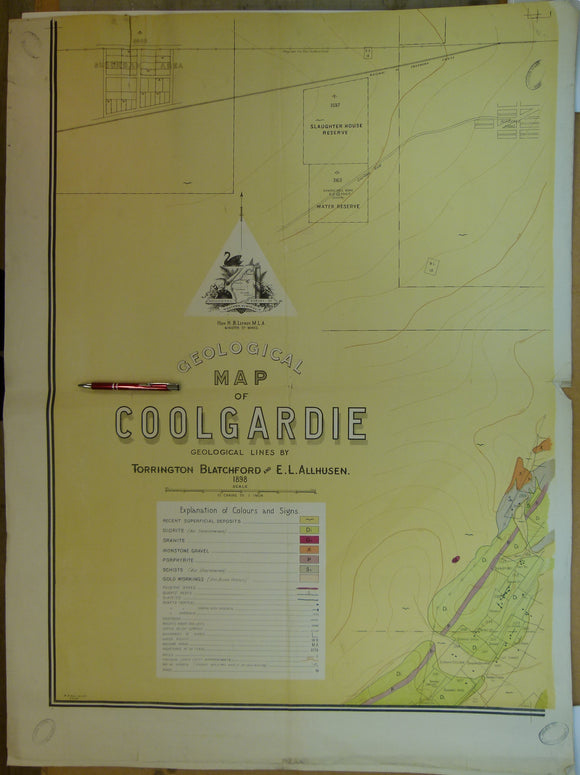 Western Australia, Geological Map of Coolgardie, 1903. 'Geological lines by Torrington Blatchford and E.L.Allhusen. Colour printed map