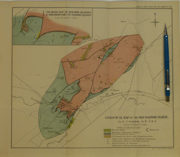 Wales Mid- 1917. Geological Map of the Old Radnor Inlier, colour