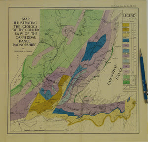 Wales Mid- 1947. Map Illustrating the Geology of the Country S.&W. of the Carneddau Range, Radnorshire, colour