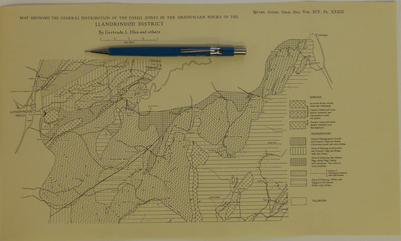 Wales Mid- 1939. Map Showing the General Distribution of the Fossil Zones n the Ordovician Rocks of the Llandrindod District, b&w