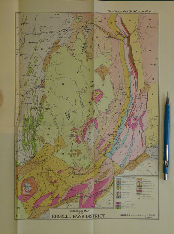 Wales North 1925. Geological Map of the Rhobell Fawr District, colour