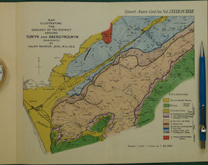 Wales North 1926. Map illustrating the Geology of the District around Towyn and Abergynolwyn (Merioneth), colour