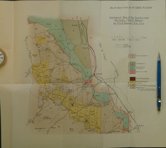 Wales North 1926. Geological Map of the Country near Denbigh, colour